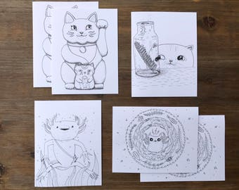 Cat & Axolotl Coloring Notecards with Envelopes | Set of 6