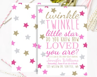 Twinkle Twinkle Little Star Baby Shower Invitation Pink & Gold