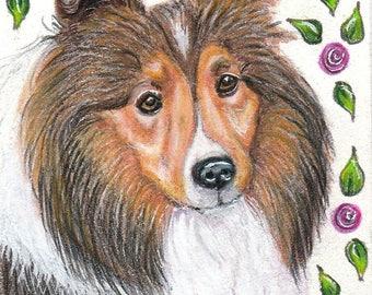 ACEO Sheltie art - original Sheltie drawing - Sheltie painting - original art - roses - miniature art - small format art - dog animal