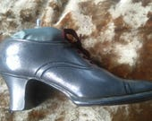 Beautiful vintage spelter shoe pin cushion steampunk  edwardian style  antique style