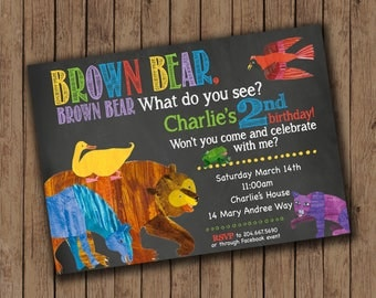 Brown Bear, Brown Bear birthday invitations or announcements- 25 printed