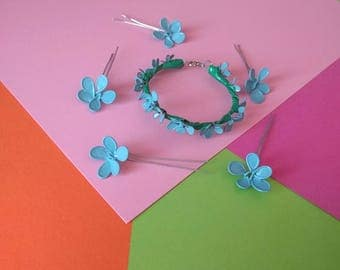 Blue Bracelet and Hairpin Set