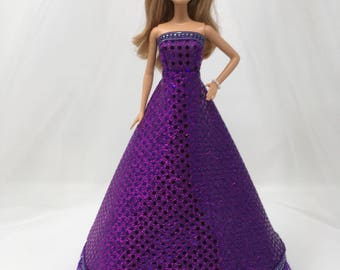 "Shimmery Doll Gown-11.5"" Doll Clothes-Purple Doll Dress-Formal-Prom Dress-Sparkly Doll Dress-Birthday Gift for Girls-Girls Gifts-Toys"