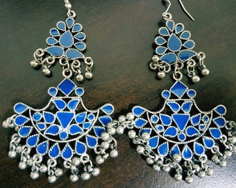 Navy Blue Enamel Silver oxidised long chandelier chandbalis party festive wear
