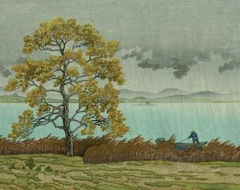 """Japanese Art Print """"Rain on the Lake Shore at Matsue"""" by Kawase Hasui, woodblock print reproduction, asian art, storm, clouds, rainy"""