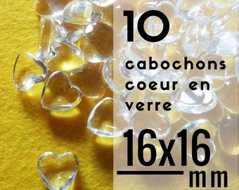 10 cabochons - 16 mm - set of 10 cabochons glass heart shaped heart 1.6 cm