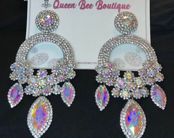AB Crystal Chandelier National Level Pageant Earrings