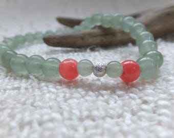 Bracelet with green and pink Jade