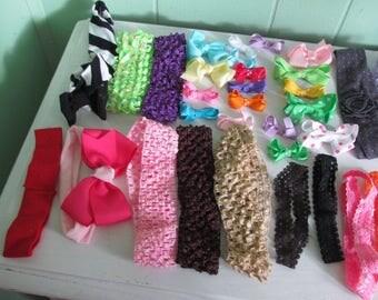 Bag of 25 Clip-On Bows & 30 Headbands
