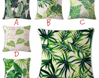 Palm Leaf Cushion Covers Green Leaves decorative Designer Pillow Case Tropical Green Leaves Cushion covers