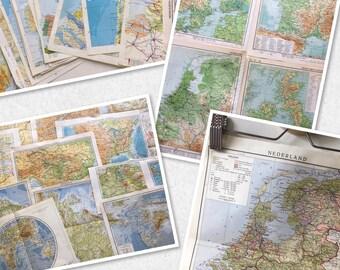 Set of 22 old atlas maps of several vintage books
