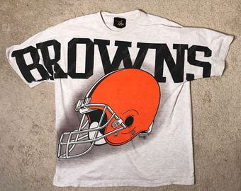 Rare // Cleveland browns tshirt // Vintage big logo magic johnson t's // adult size large XL  // 90s big logo // faded distressed // retro