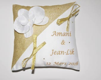 Pillow-bearer rhinestone Orchid with gold embroidered personalized wedding