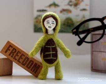 Kigurumi Needle Felted Toy Needle felted turtle Toy with a doll face Miniature Under 25 dollars