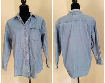 izod western denim shirt vintage denim shirt chambray shirt vintage izod denim button up shirt men's small shirt layering boyfriend shirt