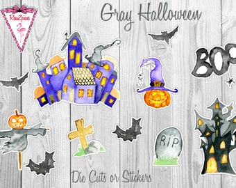Gray Halloween - Die Cut / Sticker Set