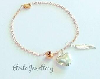 Rose Gold Bracelet, Silver Heart Bracelet, Silver Feather Bracelet, Bracelets for Women, Charm Bracelet, Gifts for her