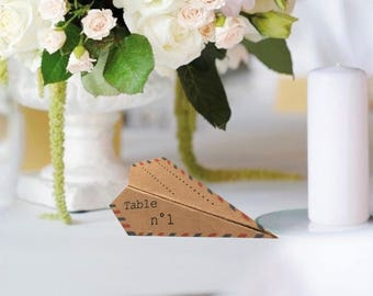 Origami plane, natural, personalized kraft wedding place cards