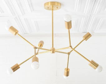 Geometric Lamp - Modern Brass Chandelier - Ceiling Fixture - Gold Chandeliers