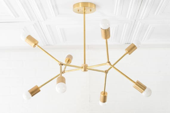 Geometric lamp modern brass chandelier ceiling fixture like this item aloadofball Images