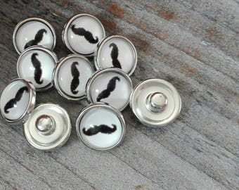 Cabochon glass snap printed moustache