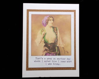 Humorous Vintage Image Note Card, Blank Card, Hand Made Card