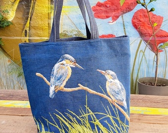 "Tapestry tote bag and fabric jean ""Courtship"""