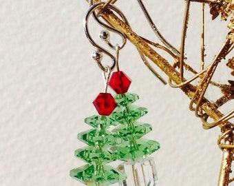 Sterling Silver Green Swarovski Crystal Christmas Tree Earrings