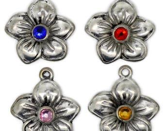 flower pendant, metal flower pendant, antique silver flower pendant, pendant with rhinestones