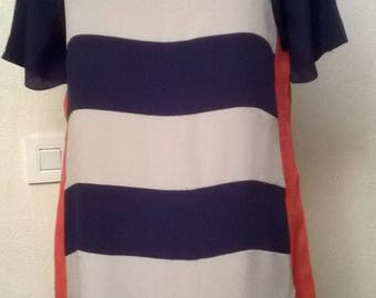 Silk dress with striped blue and beige