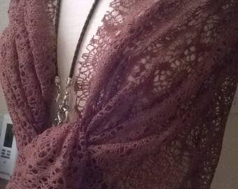 Brown lace wedding shawl