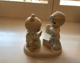 Precious Moments Figurine Boy and Girl with Eye Chart