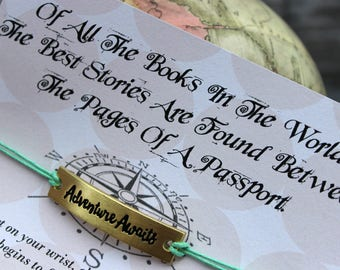 Adventure Awaits Wish Bracelet, Wish Upon Your Wrist, Passport Wish Bracelet, Adventure is Out There, Wish Bracelet, Adventure Gifts