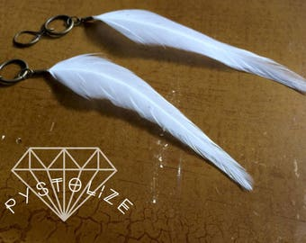 Long white feather earrings!