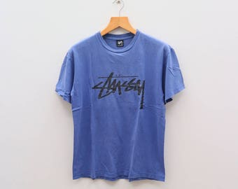Vintage STUSSY Big Logo Streetwear Hip Hop Pop Art Blue Tee T Shirt Size M