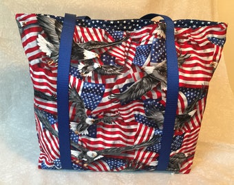 Patriot- Functional, Multiple Use, Fully Lined Cotton Tote Bags