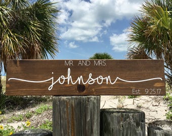 Last Name Sign, Established Sign, Name Sign, Wedding Gift, Anniversary Gift, Couple Name Sign, Personalized Name Sign, Bridal Shower Gift