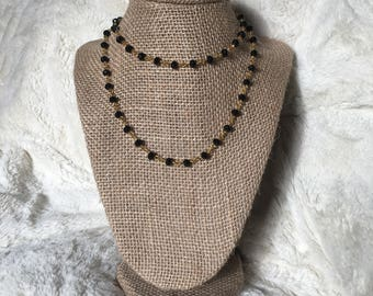 Black Double Wrap Beaded Necklace