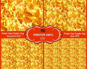 Blaze Fire Flame Pattern Printed Vinyl/Siser HTV/ Oracal/ Indoor Vinyl/ Outdoor Vinyl/ Heat Transfer Vinyl- 078