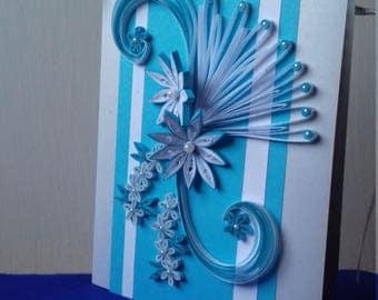 Blue Greetings Card,  Floral  Greetings Card,  Quilling Card, Blank Greetings Card