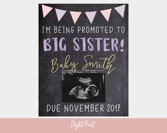 Big Sister Chalkboard Sign, I'm Being Promoted To Big Sister, Pregnancy Announcement, Baby Reveal, Photo Prop, Digital Chalkboard, New Baby