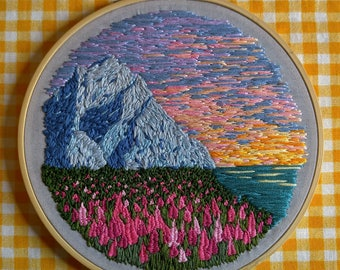 6in Mountain And Meadow Landscape - Hand Embroidered