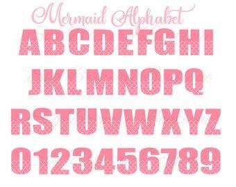 Mermaid alphabet, fonts, numbers, SVG (layered), PNG, DXF, cricut, silhouette studio, cut file, vinyl decal, t shirt design, birthday theme