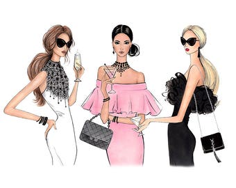 Fashion Art Print Fashion Poster Print Fashion Sketch Fashion Wall Print  Fashion Woman Art Best Friends  Fashion Poster Design