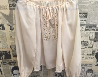 Original Vintage 1970's Cream Pink Lace Blouse FREE WORLDWIDE POSTAGE