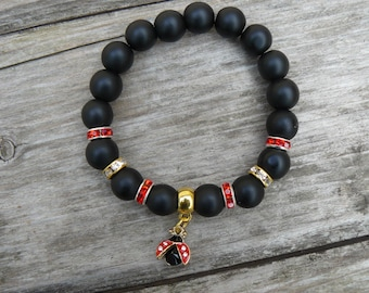 Beautiful  Woman Black Matte Onyx Beaded Bracelet/ Black Onyx Bracelet/Gemstone Bracelet/ Bracelet with ladybird pendant/ ladybird charm