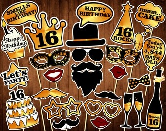 Sweet 16 Photo Booth Props - INSTANT DOWNLOAD - Sweet sixteenth birthday props - Black and Gold - 16th birthday party decorations