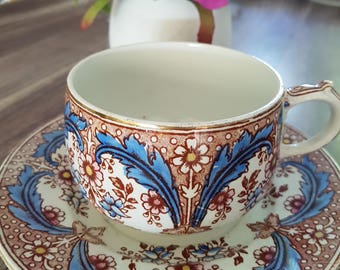 """Large Cup and saucer Sarreguemines """"Opaque"""" France"""