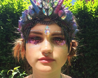 Festival Headpiece Hat Blue and Pink Mermaid Shell Crown