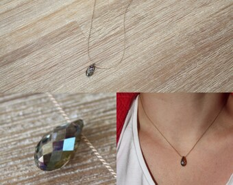 Iridescent Green Swarovski Crystal drop necklace